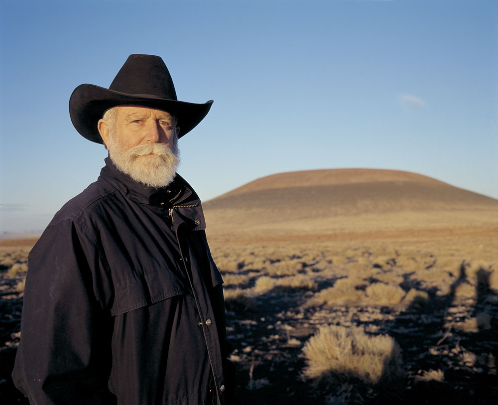 James Turrell in front of Roden Crater at sunset, October 2001. Photo © Florian Holzherr