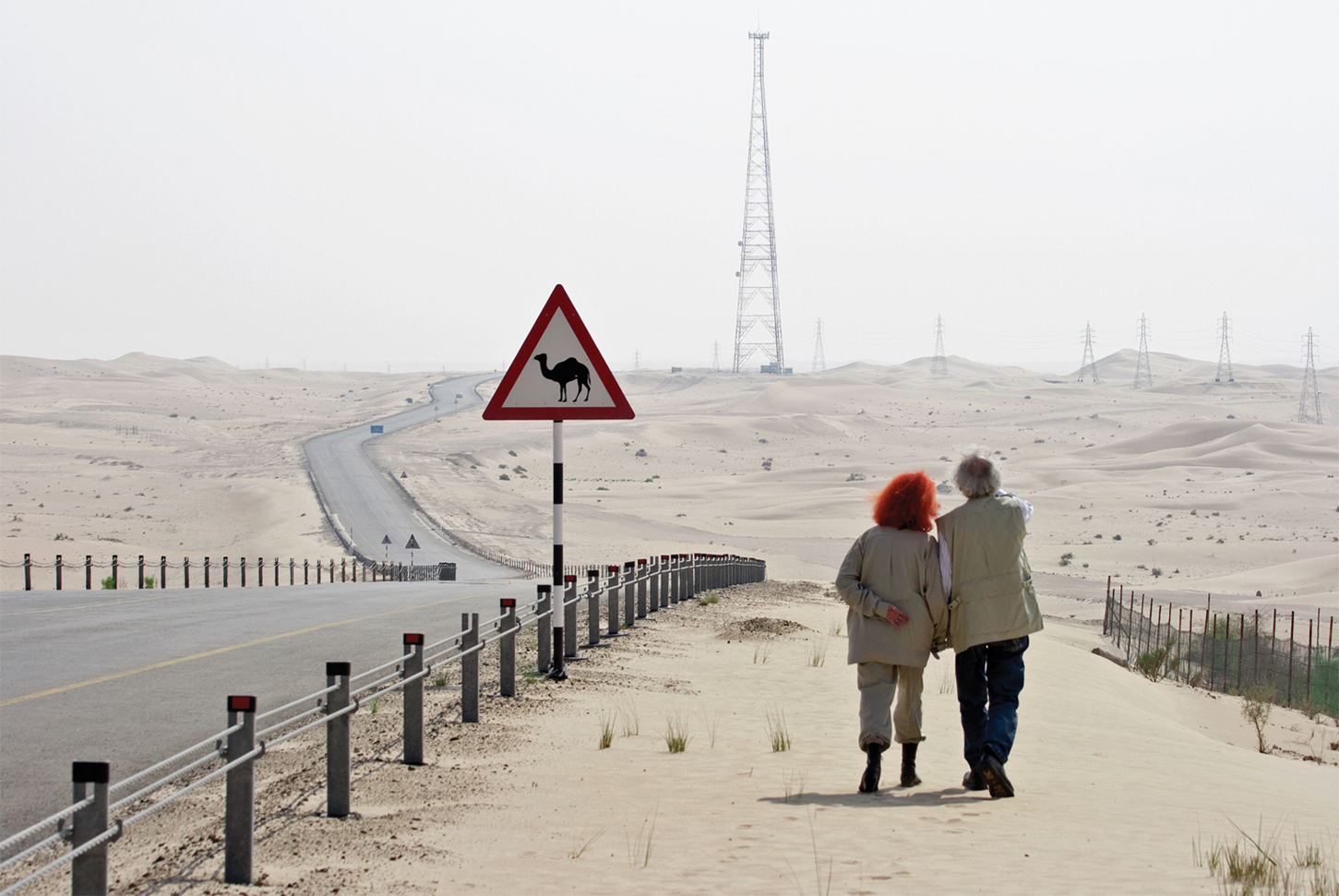 Christo and Jeanne-Claude scouting locations for the site of The Mastaba, October 2007, Photo: Wolfgang Volz, © 2007 Christo