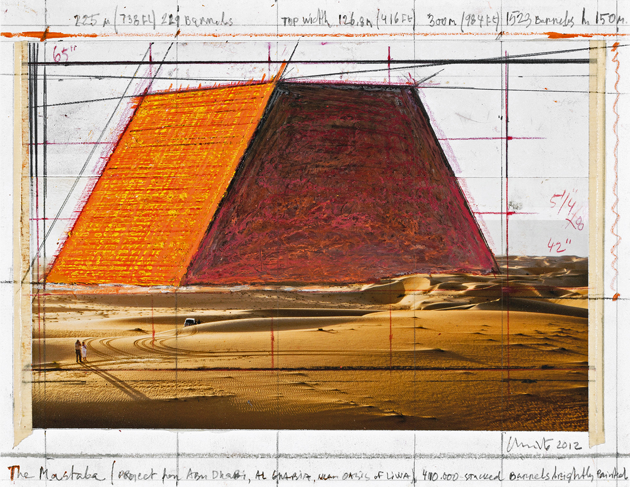 The Mastaba (Project for Abu Dhabi, Al Gharbia, near Oasis of Liwa) Collage 2012, Photo: André Grossmann, © 2012 Christo