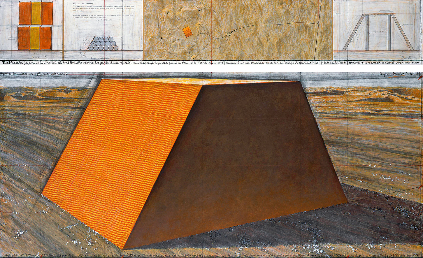The Mastaba (Project for Abu Dhabi, United Arab Emirates), Drawing 2012 in two parts, Photo: André Grossmann, © 2012 Christo
