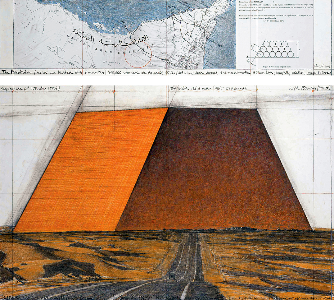 The Mastaba (Project for United Arab Emirates), Drawing 2009 in two parts, Photo: Wolfgang Volz, © 2009 Christo