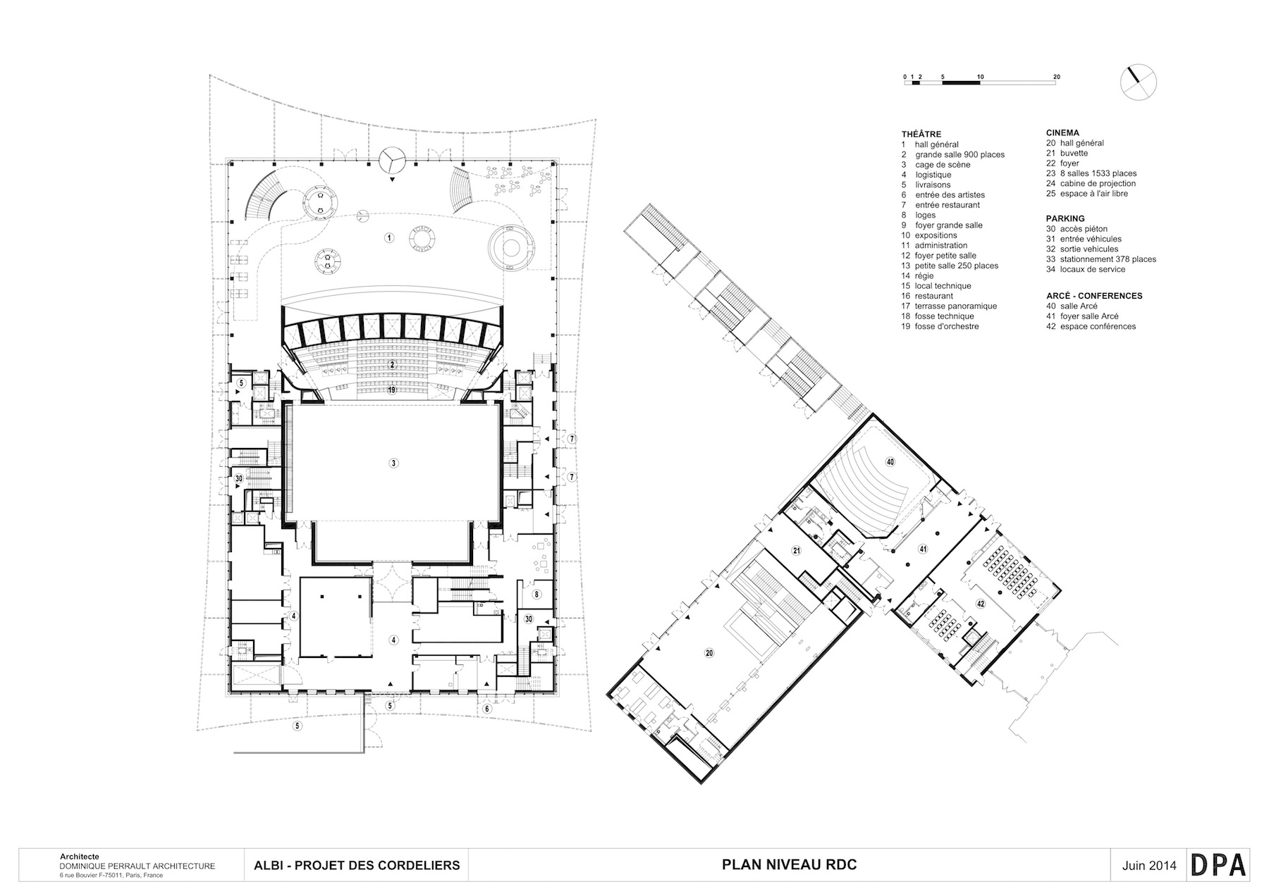 albi grand theatre arcdog Playhouse FM 1960 sketch dominique perrault adagp plans dominique perrault architecture adagp photos ge es fessy dominique perrault architecture adagp